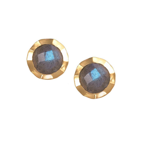 Boho Hammered Labradorite Gold Earrings-Earrings-Sharon Mills London-JewelStreet