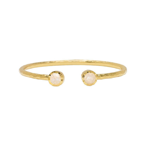 Boho Moonstone Gold Bangle-Bracelets-Sharon Mills London-JewelStreet