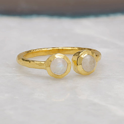 Boho Open Moonstone Gold Ring-Rings-Sharon Mills London-JewelStreet