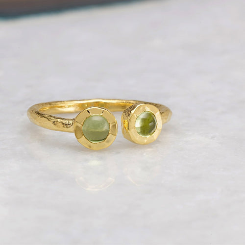 Boho Open Peridot Gold Ring-Rings-Sharon Mills London-JewelStreet