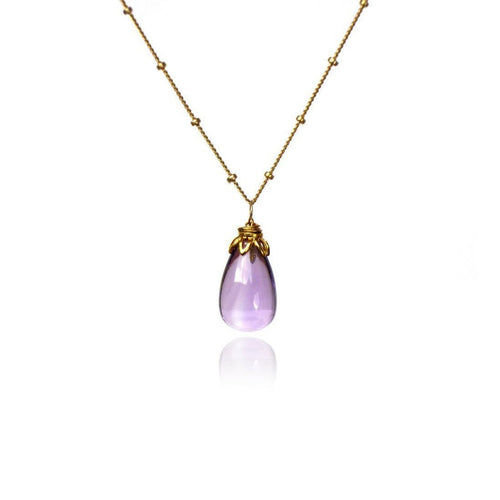 Bonbon - Smooth Amethyst Drop Necklace-Necklaces-Brandts Jewellery-JewelStreet