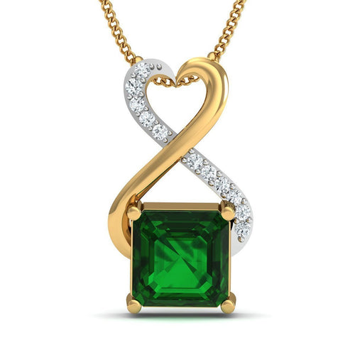 Brazilian Emerald Cut Emerald and Diamond Pendant Handmade in 10kt Yellow Gold-Necklaces-Diamoire Jewels-JewelStreet