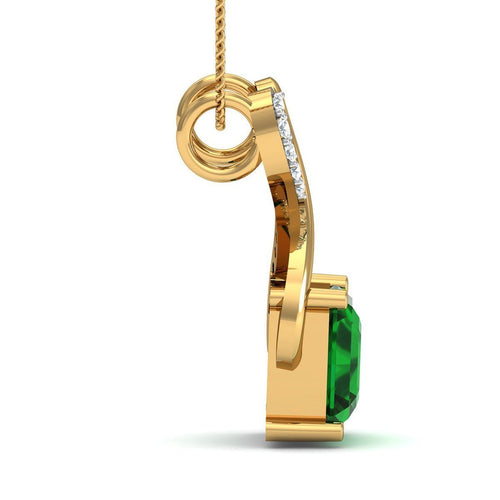 Brazilian Emerald Cut Emerald and Diamond Pendant Handmade in 14kt Yellow Gold-Necklaces-Diamoire Jewels-JewelStreet
