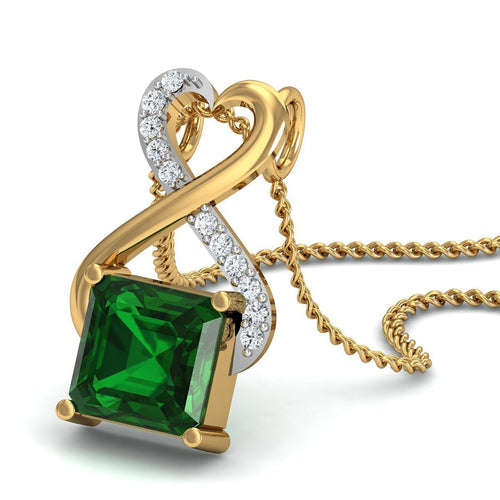 Brazilian Emerald Cut Emerald and Diamond Pendant Handmade in 18kt Yellow Gold-Necklaces-Diamoire Jewels-JewelStreet