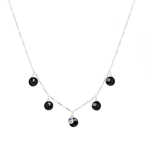 Breezy Black Spinel And Rainbow Moonstone Necklace ,[product vendor],JewelStreet