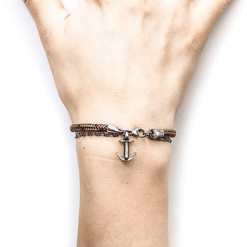 Brown Filey Silver And Rope Bracelet-Bracelets-Anchor and Crew-JewelStreet