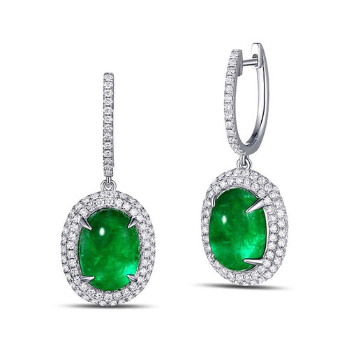 Cabochon Emerald Diamond Earrings-Earrings-SILVER YULAN-JewelStreet