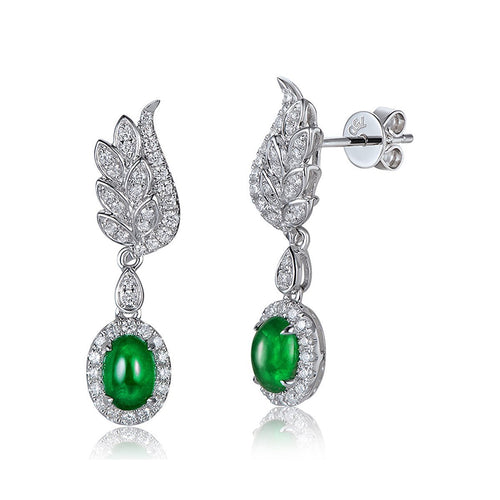 Cabochon Emerald Diamond Wing Earrings-Earrings-SILVER YULAN-JewelStreet