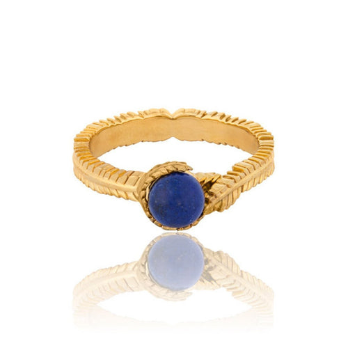 Caleb Floral Yellow Gold Vermeil and Lapis Ring-Rings-Vurchoo-JewelStreet