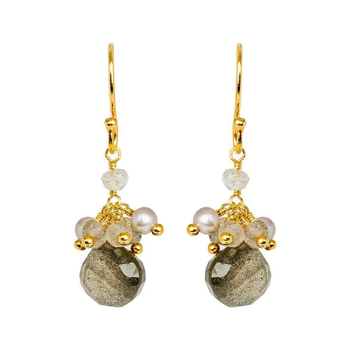 Cari Pearl And Labradorite Drop Earrings - Gold Plated ,[product vendor],JewelStreet