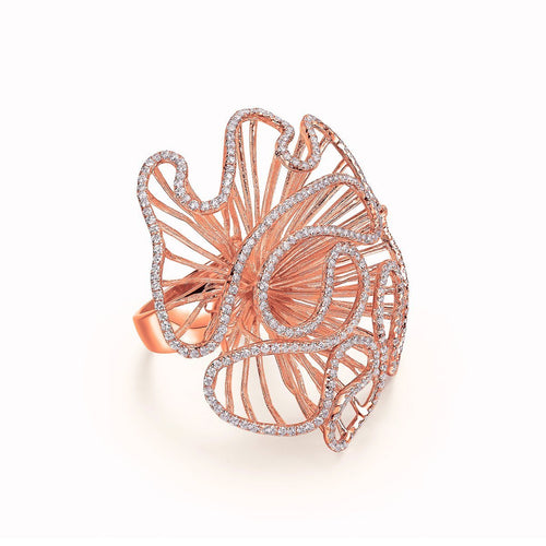 Cascade Large Ring In 18kt Rose Gold Plate-Rings-Fei Liu-JewelStreet