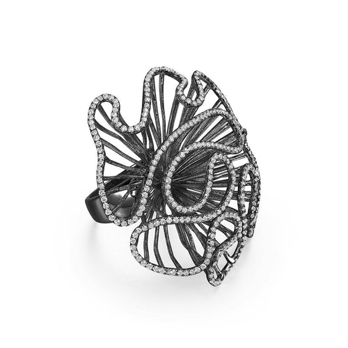 Cascade Large Ring In Black Rhodium Plate-Rings-Fei Liu-JewelStreet