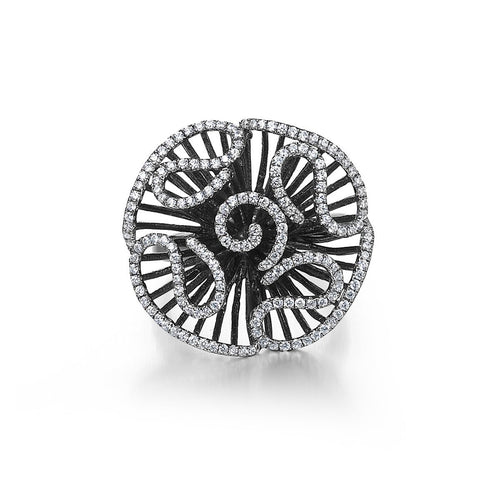 Cascade Stud Ring In Black Rhodium Plate-Rings-Fei Liu-JewelStreet