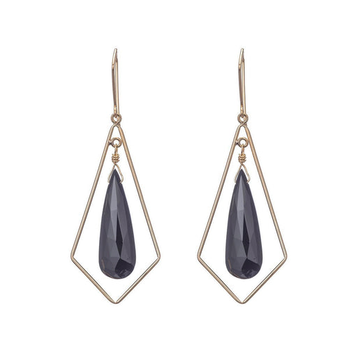 Chandelier Black Spinel Teardrop Earrings-Earrings-Heather Kenealy Jewelry-JewelStreet