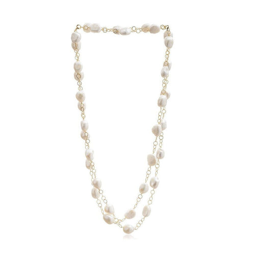 Chunky Pearl & Gold Plate Chain Necklace-Necklaces-The Pearl Quarter-JewelStreet