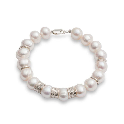 Chunky Pearl Bracelet with Silver Beads-Bracelets-The Pearl Quarter-JewelStreet