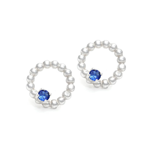Sterling Silver & Sapphire Circlet Post Earrings | INIZI ,[product vendor],JewelStreet