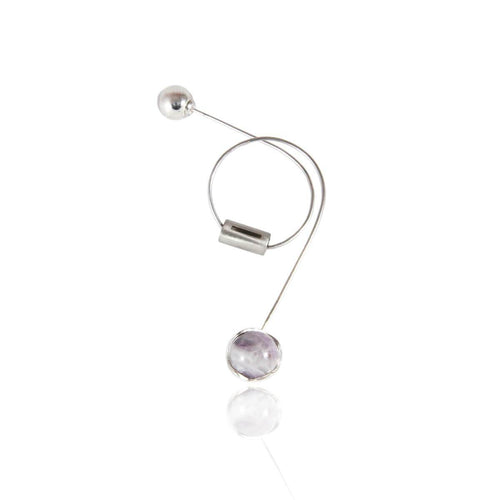 Circular Earring With Amethyst In Lavender ,[product vendor],JewelStreet
