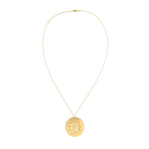 "Classic 1 1/4"" Monogram Charm Disc with 4 Diamonds-Necklaces-Emily & Ashley-JewelStreet"