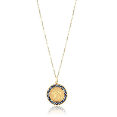 Classic Charm Disc with Blue Sapphires Necklace-Necklaces-Emily & Ashley-JewelStreet