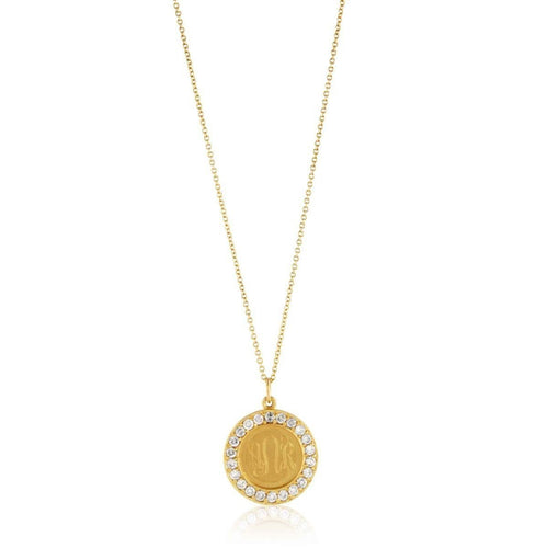 Classic Charm Disc with Diamonds Necklace-Necklaces-Emily & Ashley-JewelStreet