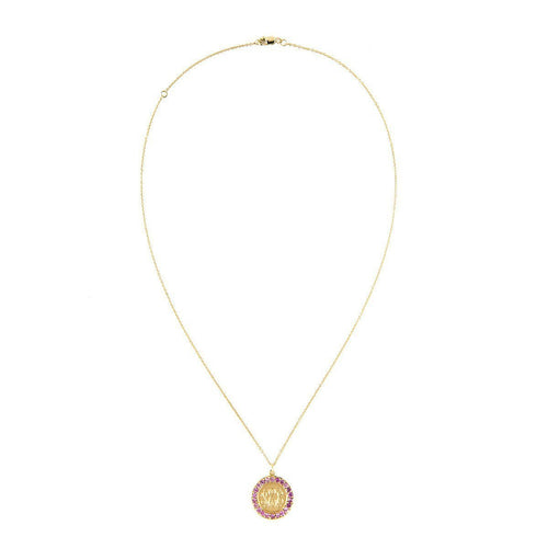 Classic Charm Disc with Pink Sapphires Necklace-Necklaces-Emily & Ashley-JewelStreet