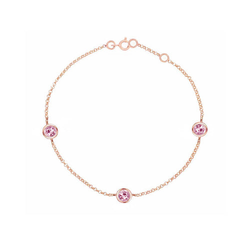 Classic Rose Gold Pink Tourmaline Dew Drop Bracelet ,[product vendor],JewelStreet