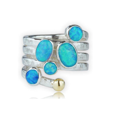 Handmade Contemporary Gold And Silver Multi Opal Ring-Rings-Lavan-JewelStreet