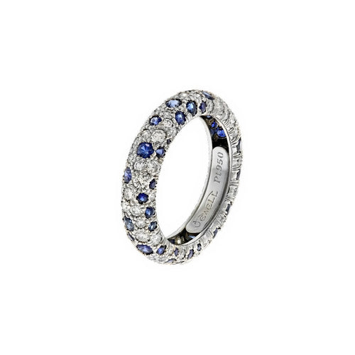 Coral Ring With Blue Sapphires And Diamonds-Rings-Alexander Jewell-JewelStreet
