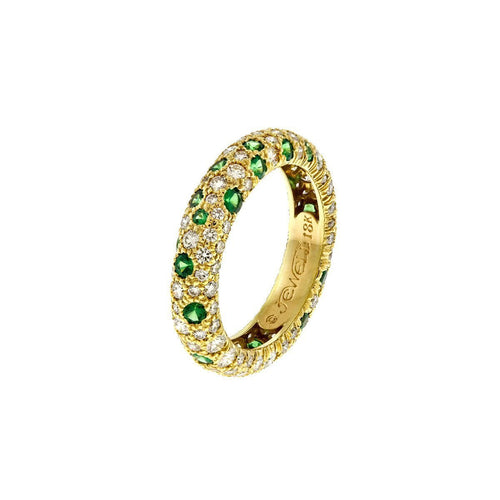 Coral Ring With Tsavorites And Diamonds-Rings-Alexander Jewell-JewelStreet