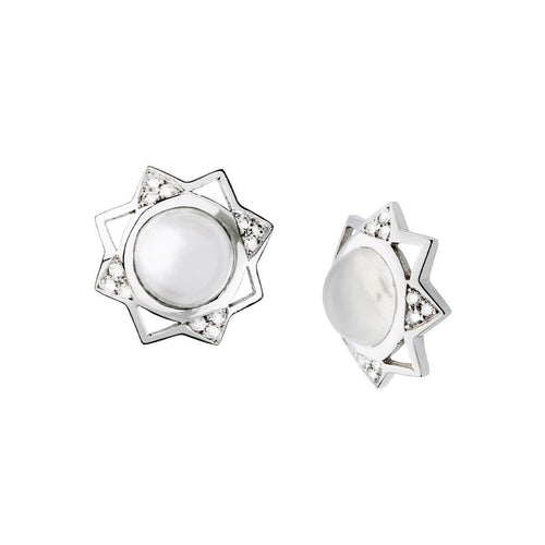 Crown Earrings - White ,[product vendor],JewelStreet