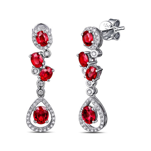 Cushion Cut Ruby Diamond Earrings-Earrings-SILVER YULAN-JewelStreet