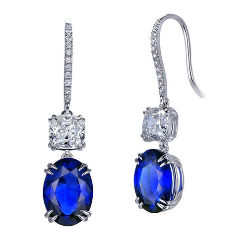 Cushion Cut Sapphire Diamond Earrings-Earrings-SILVER YULAN-JewelStreet