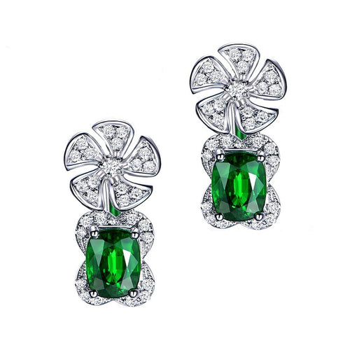 Cushion Cut Tsavorite Diamond Flower Earrings-Earrings-SILVER YULAN-JewelStreet