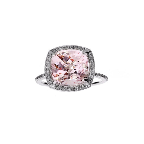 Cushion Morganite Ring Diamond Halo Engagement Ring-Rings-Oh my Christine Jewelry-JewelStreet