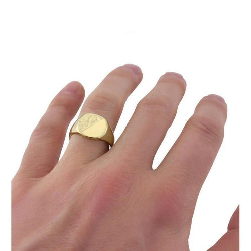 Cushion-shaped 9kt Yellow Gold Heavy Weight Engraved Signet Ring-Rings-Star Wedding Rings-JewelStreet