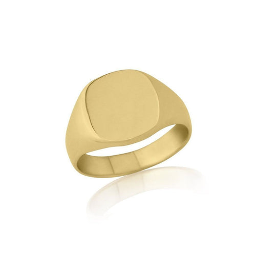Cushion-shaped 9kt Yellow Gold Heavy Weight Signet Ring-Rings-Star Wedding Rings-JewelStreet