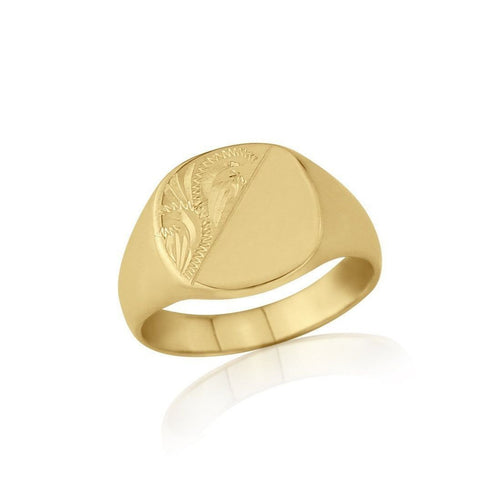 Cushion-shaped 9kt Yellow Gold Medium Engraved Signet Ring ,[product vendor],JewelStreet