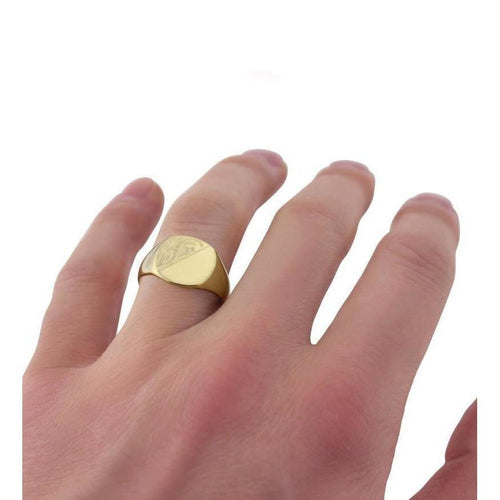 Cushion-shaped 9kt Yellow Gold Medium Weight Engraved Signet Ring-Rings-Star Wedding Rings-JewelStreet