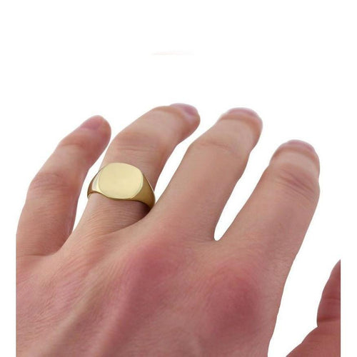 Cushion-shaped 9kt Yellow Gold Medium Signet Ring ,[product vendor],JewelStreet