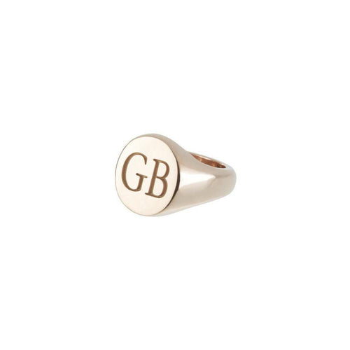 Customisable Oval 9kt Rose Gold Signet-Rings-Sophie Breitmeyer-JewelStreet
