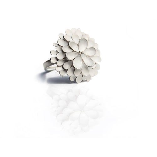 Dahlia Large Silver Ring-Rings-Dagmar Korecki-JewelStreet