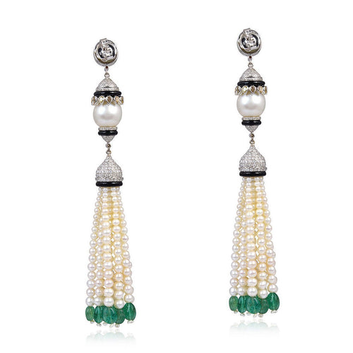 Designer Pearl Diamond Chandelier Earrings-Earrings-Socheec-JewelStreet
