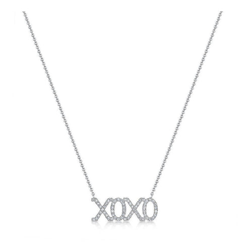 Diamond 'XOXO' White Gold Pendant-Necklaces-ROX - Diamonds and Thrills-JewelStreet