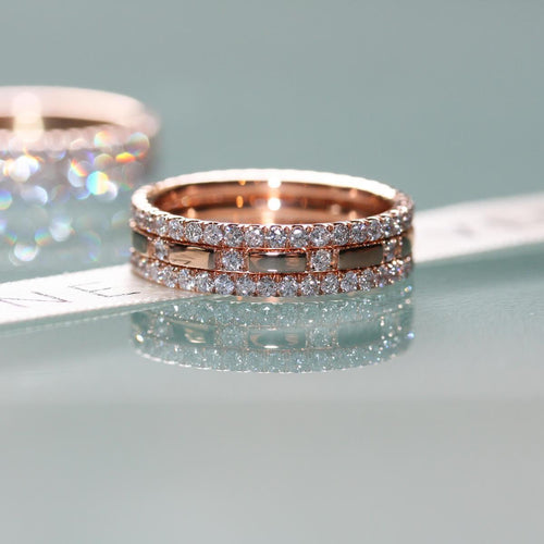 Diamond XX 3-Ring Combination In Rose ,[product vendor],JewelStreet