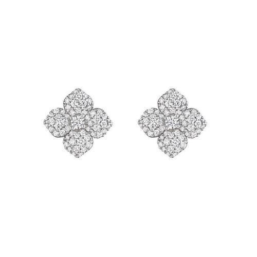 Diamond Pave Flower Stud Earrings-Earrings-Penny Preville-JewelStreet