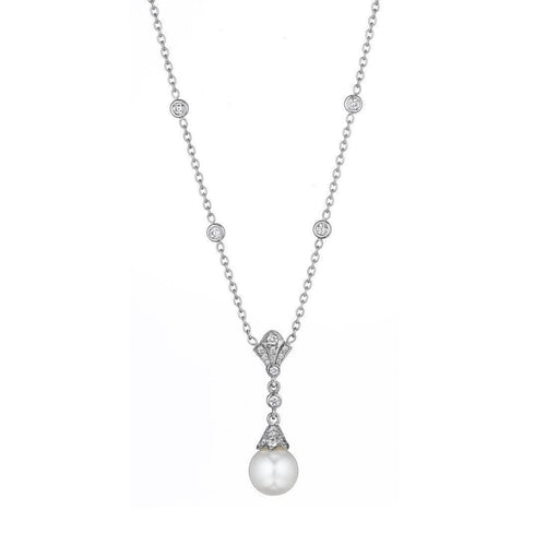 Diamond Pearl Necklace-Necklaces-Penny Preville-JewelStreet