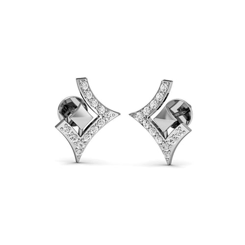Dignified Premium Diamond Earrings in White Gold-Earrings-Diamoire Jewels-JewelStreet