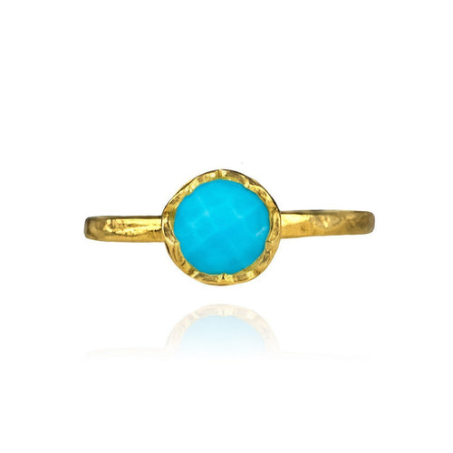 Dosha Ring Gold With Turquoise-Rings-Zefyr-JewelStreet