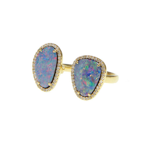 Double Opal Slice & Diamond Ring ,[product vendor],JewelStreet